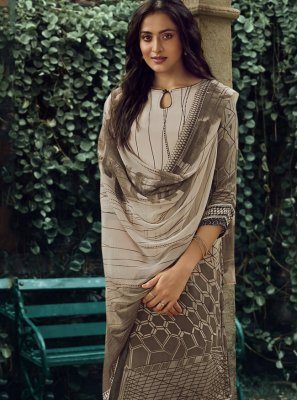 Brown Printed Casual Pakistani Salwar Suit