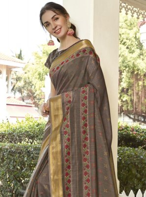 Brown Printed Casual Saree