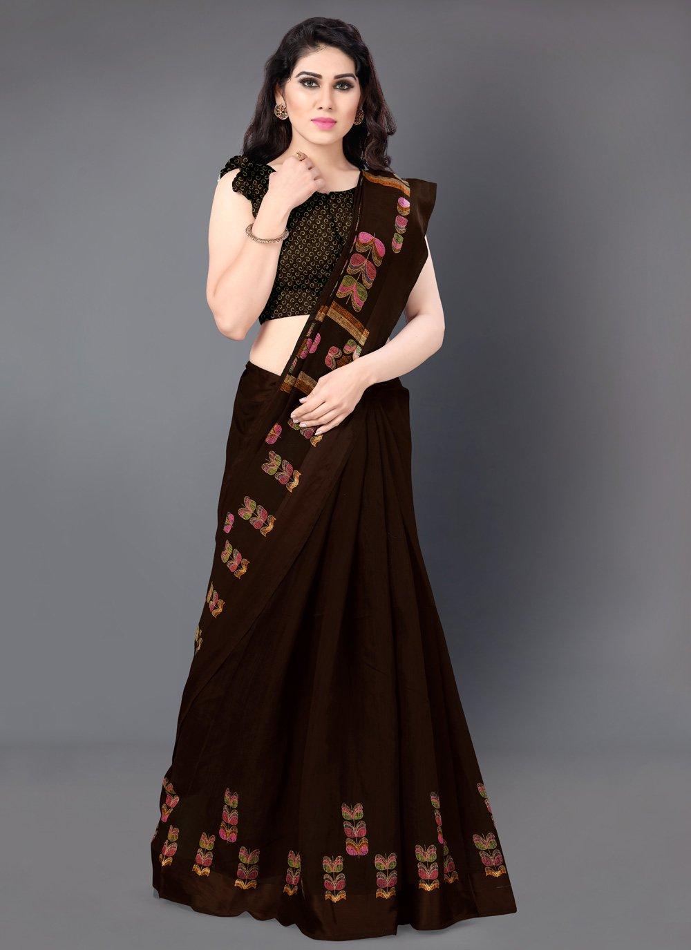Brown Printed Classic Saree