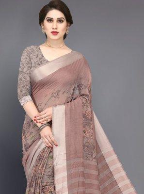 Brown Printed Cotton Silk Saree