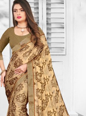 Brown Printed Faux Chiffon Casual Saree
