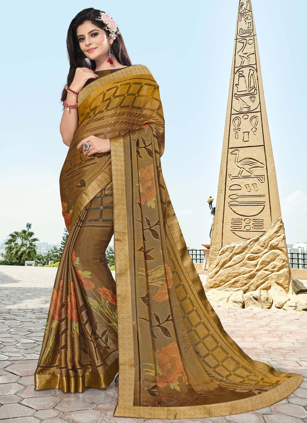 Brown Printed Party Traditional Saree