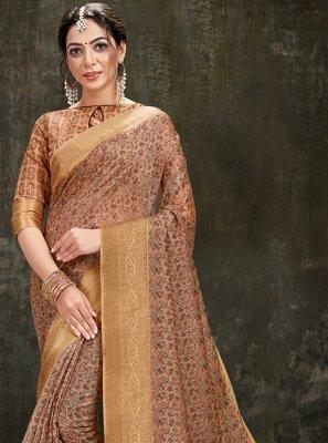 Brown Printed Printed Saree
