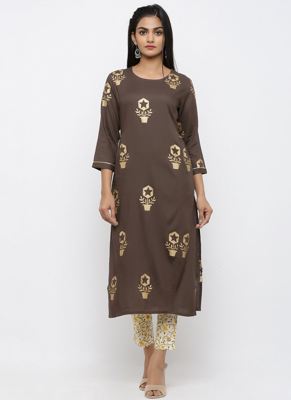 Brown Printed Salwar Suit