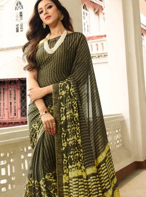 Brown Rangoli Festival Printed Saree