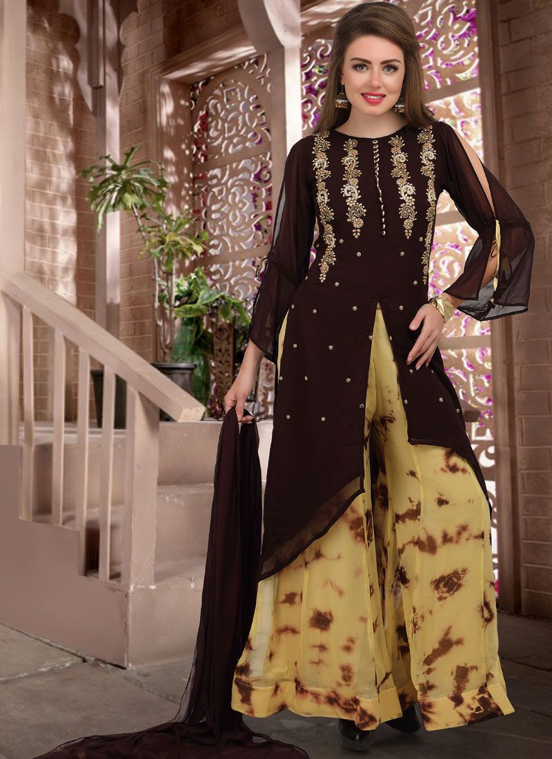 Brown Reception Designer Palazzo Salwar Kameez