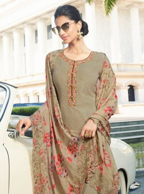 Brown Resham Georgette Salwar Kameez