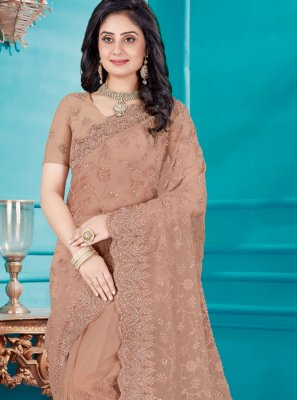 Brown Resham Wedding Classic Saree
