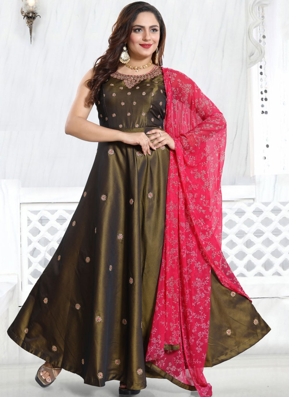 Brown Satin Festival Anarkali Salwar Suit