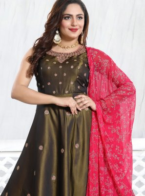 Brown Satin Festival Anarkali Salwar Suit