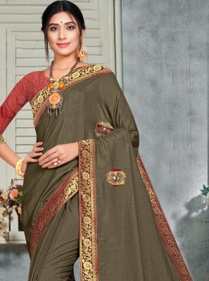 Brown Silk Embroidered Classic Saree