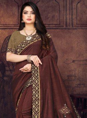 Brown Silk Party Classic Saree