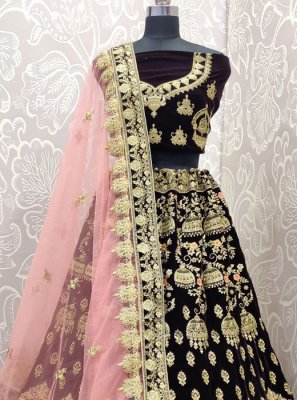 Brown Velvet Mehndi Lehenga Choli