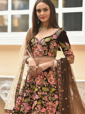 Brown Velvet Trendy Designer Lehenga Choli