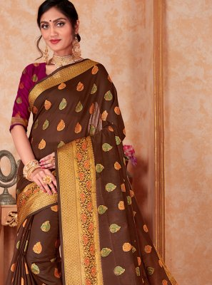 Brown Weaving Contemporary Saree
