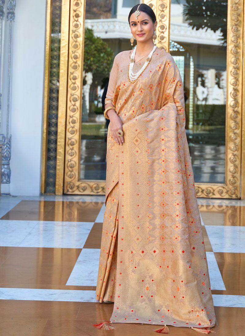 Brown Weaving Designer Saree