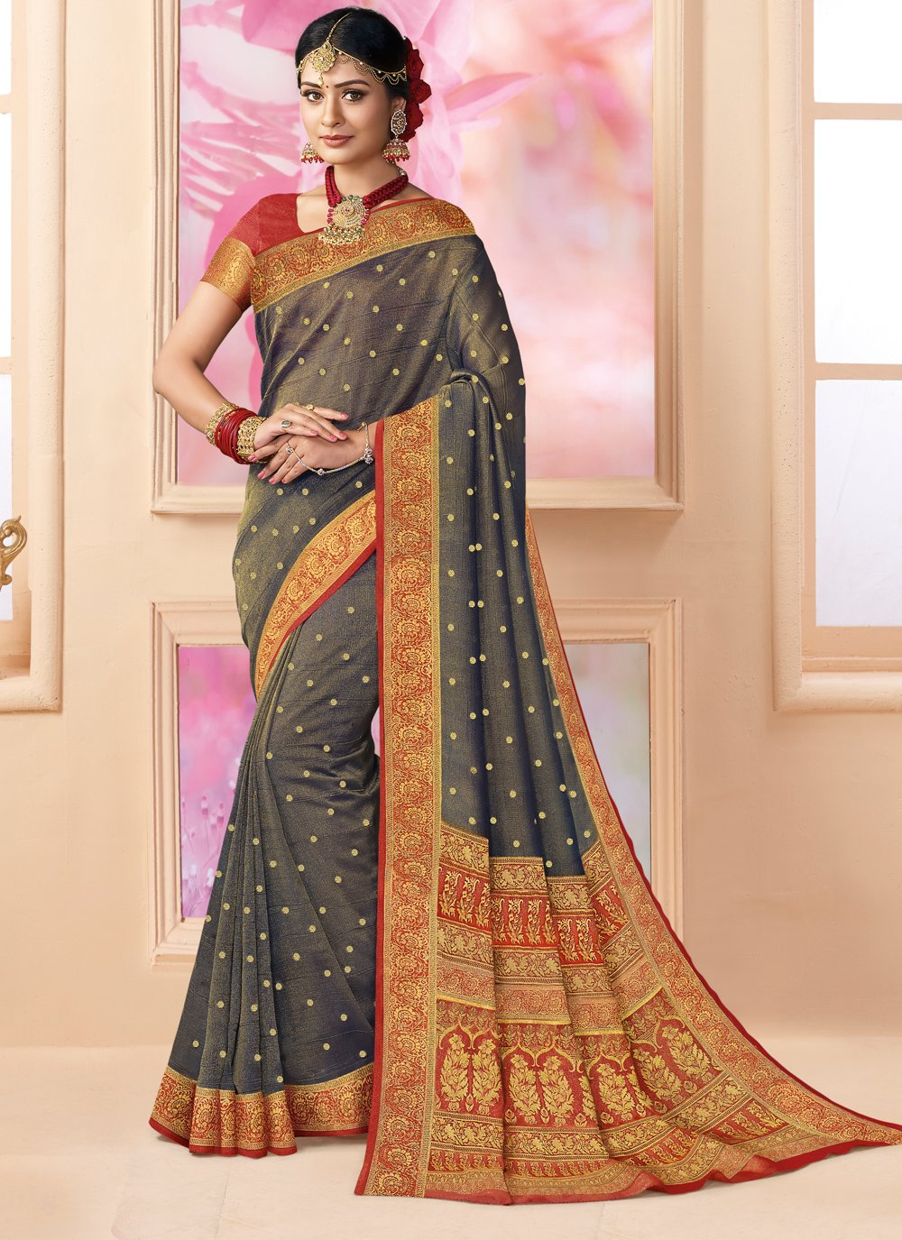 Brown Weaving Trendy Saree