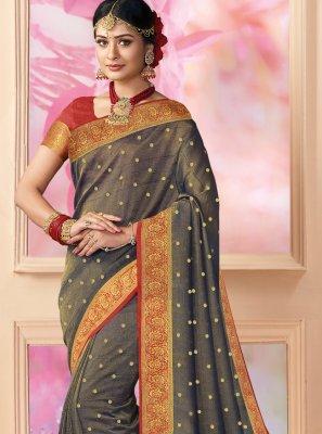 Brown Weaving Trendy Saree