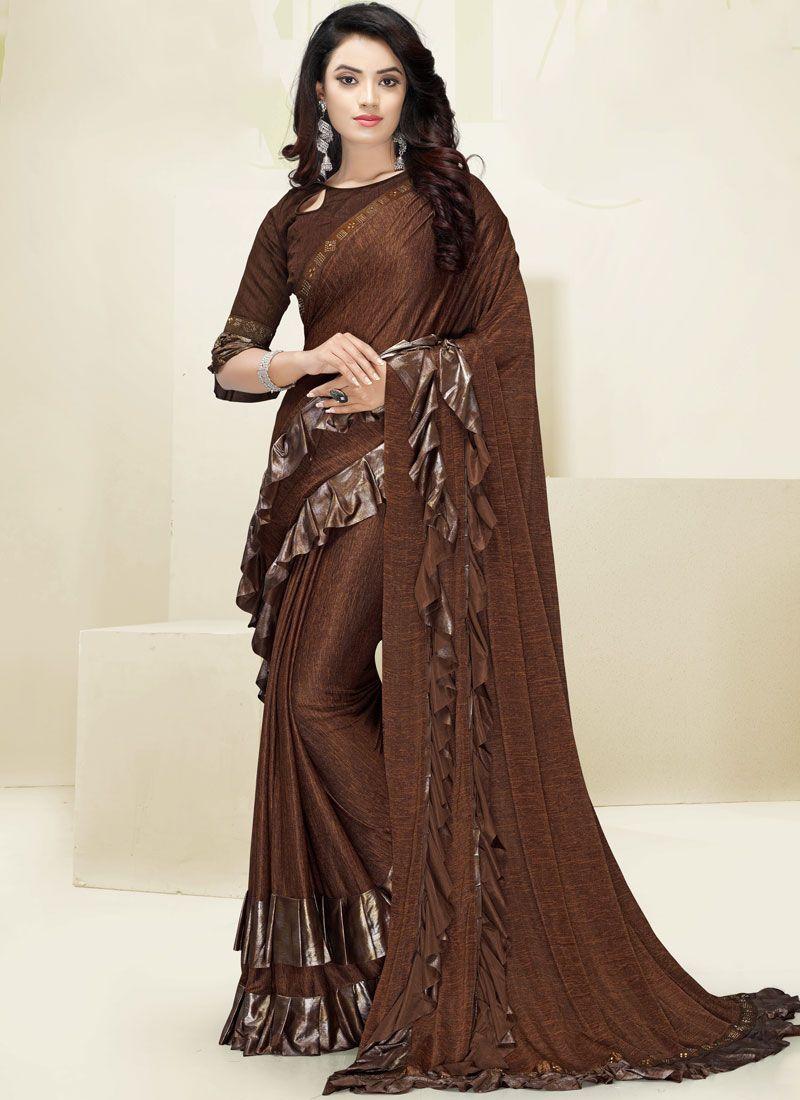 Brown Wedding Designer Saree