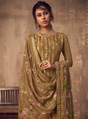 Brown Wedding Viscose Salwar Suit