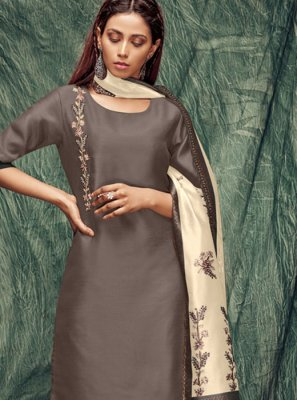 Brown Zardosi Work Casual Kurti