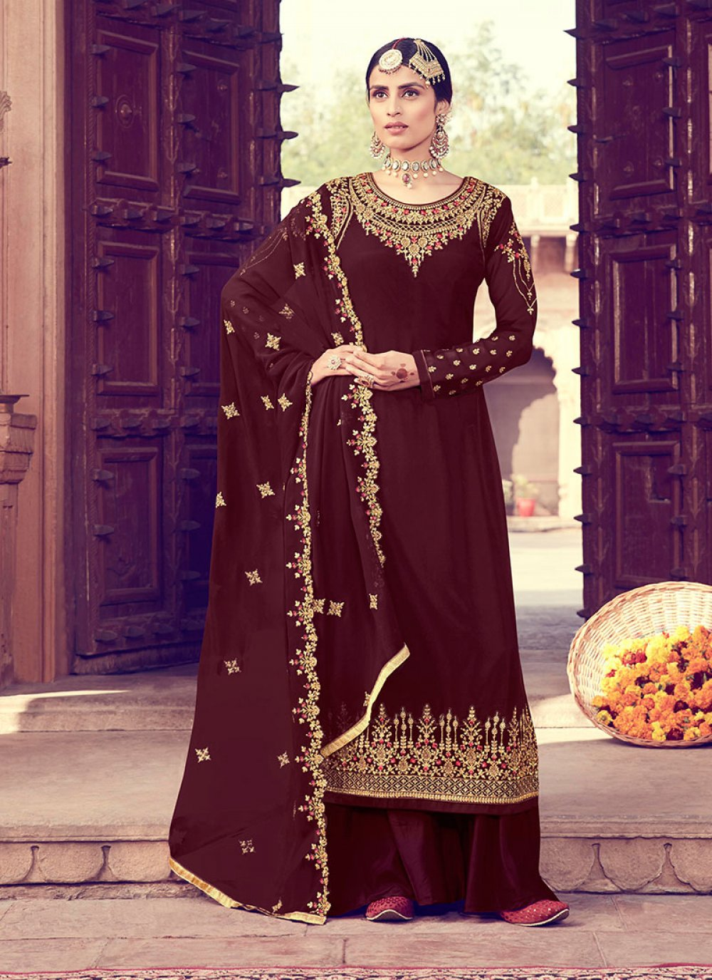 Brown Zari Party Salwar Suit
