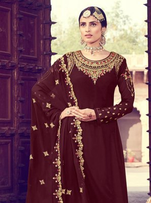 Brown Zari Party Salwar Suit