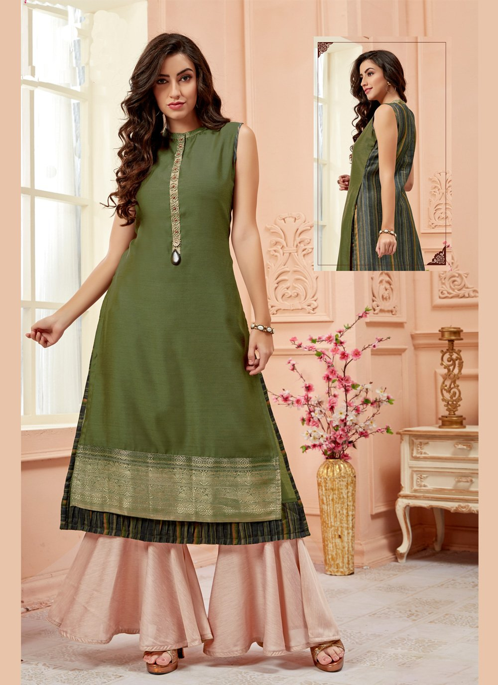 Casual Kurti Embroidered Art Silk in Green