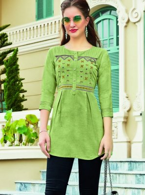 Casual Kurti Embroidered Cotton in Green
