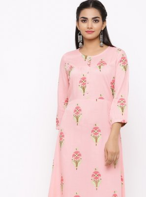 Casual Kurti Floral Print Cotton in Pink