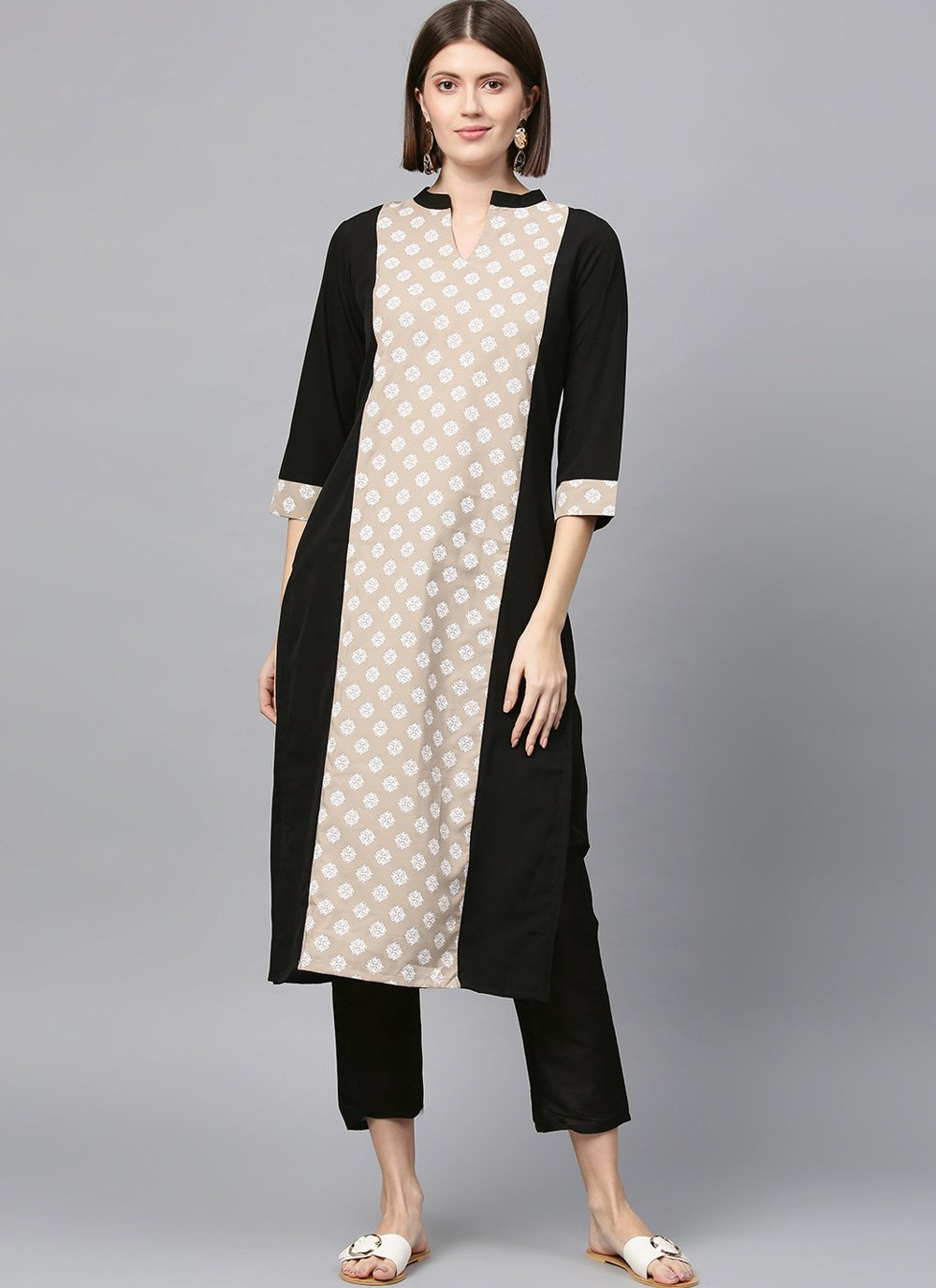 Casual Kurti Plain Faux Crepe in Beige and Black