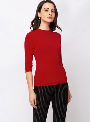 Casual Kurti Plain Faux Crepe in Red