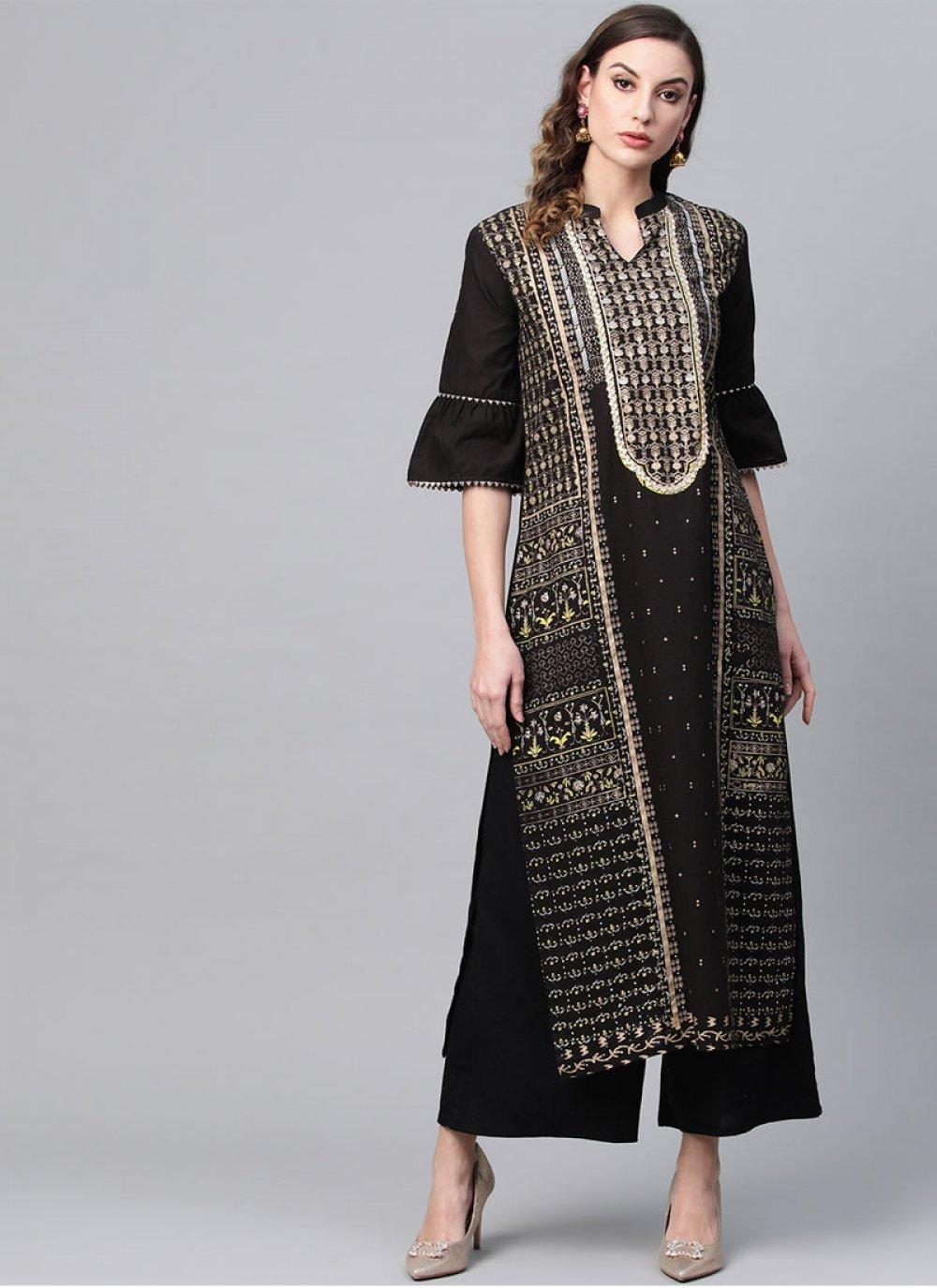 Casual Kurti Printed Cotton in Black