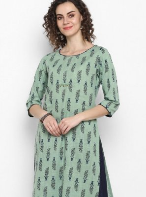 Casual Kurti Printed Cotton in Navy Blue and Sea Green