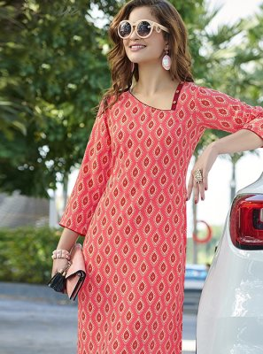 Casual Kurti Printed Crepe Silk in Pink
