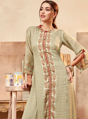 Casual Kurti Printed Faux Chiffon in Green