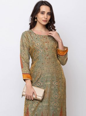 Casual Kurti Printed Jacquard in Green