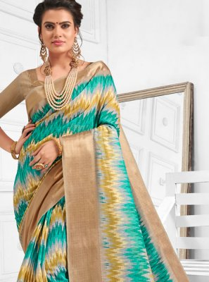Casual Saree Digital Print Cotton in Multi Colour