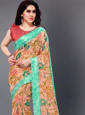 Casual Saree Floral Print Cotton in Multi Colour