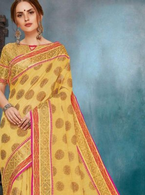 Casual Saree Printed Cotton in Mustard