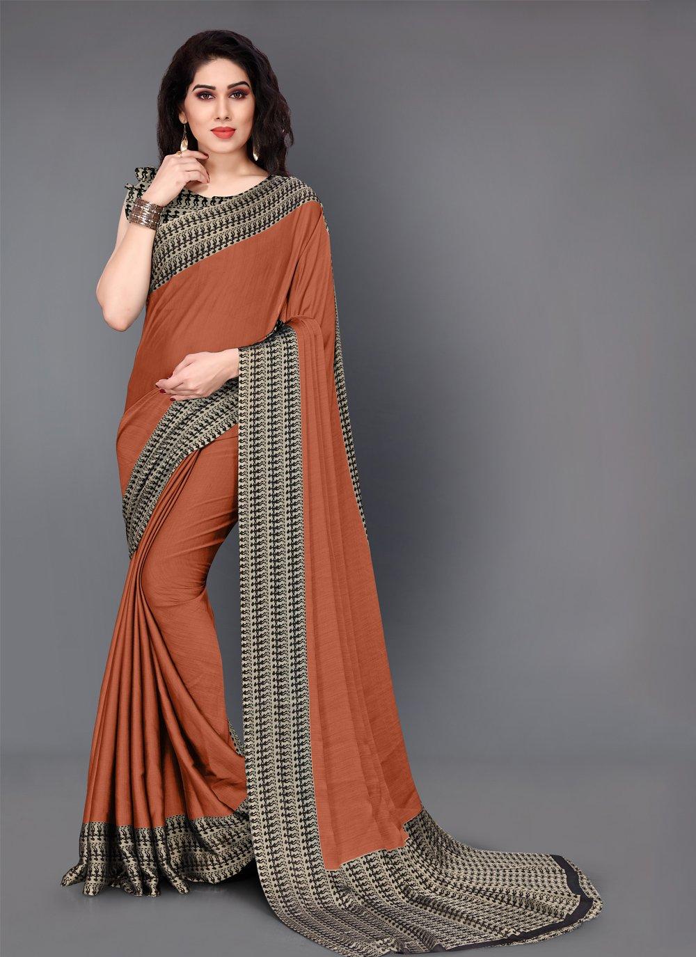 Casual Saree Printed Crepe Silk in Brown