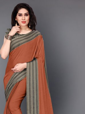Casual Saree Printed Crepe Silk in Brown