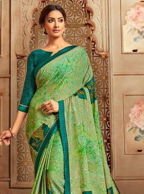 Casual Saree Printed Faux Chiffon in Multi Colour
