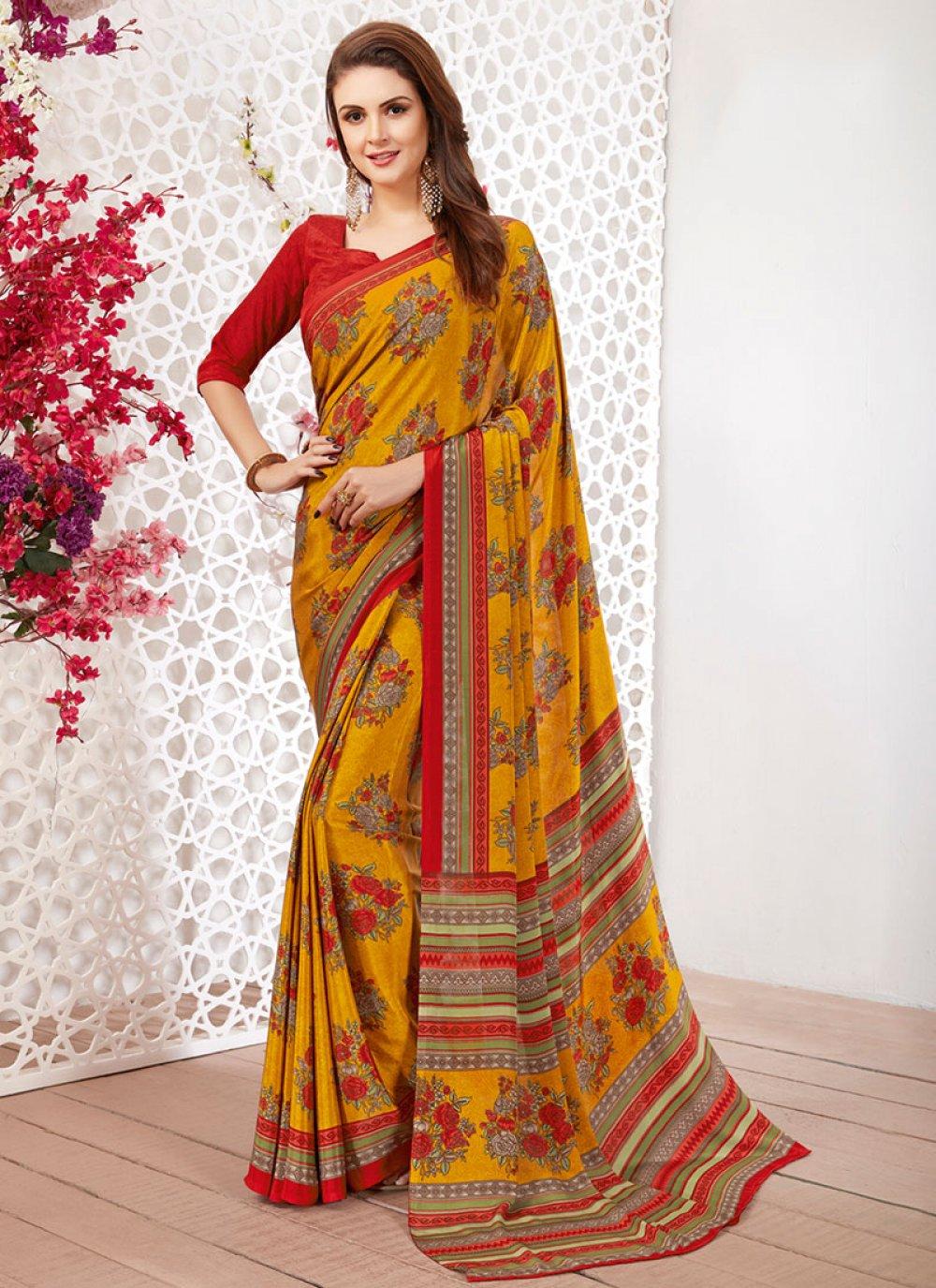 Casual Saree Printed Faux Crepe in Multi Colour