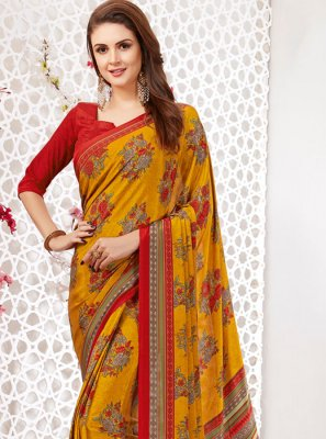 Casual Saree Printed Faux Crepe in Multi Colour