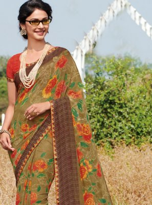 Casual Saree Printed Georgette in Brown
