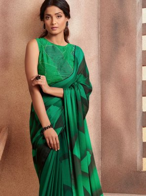 Casual Saree Printed Georgette in Green