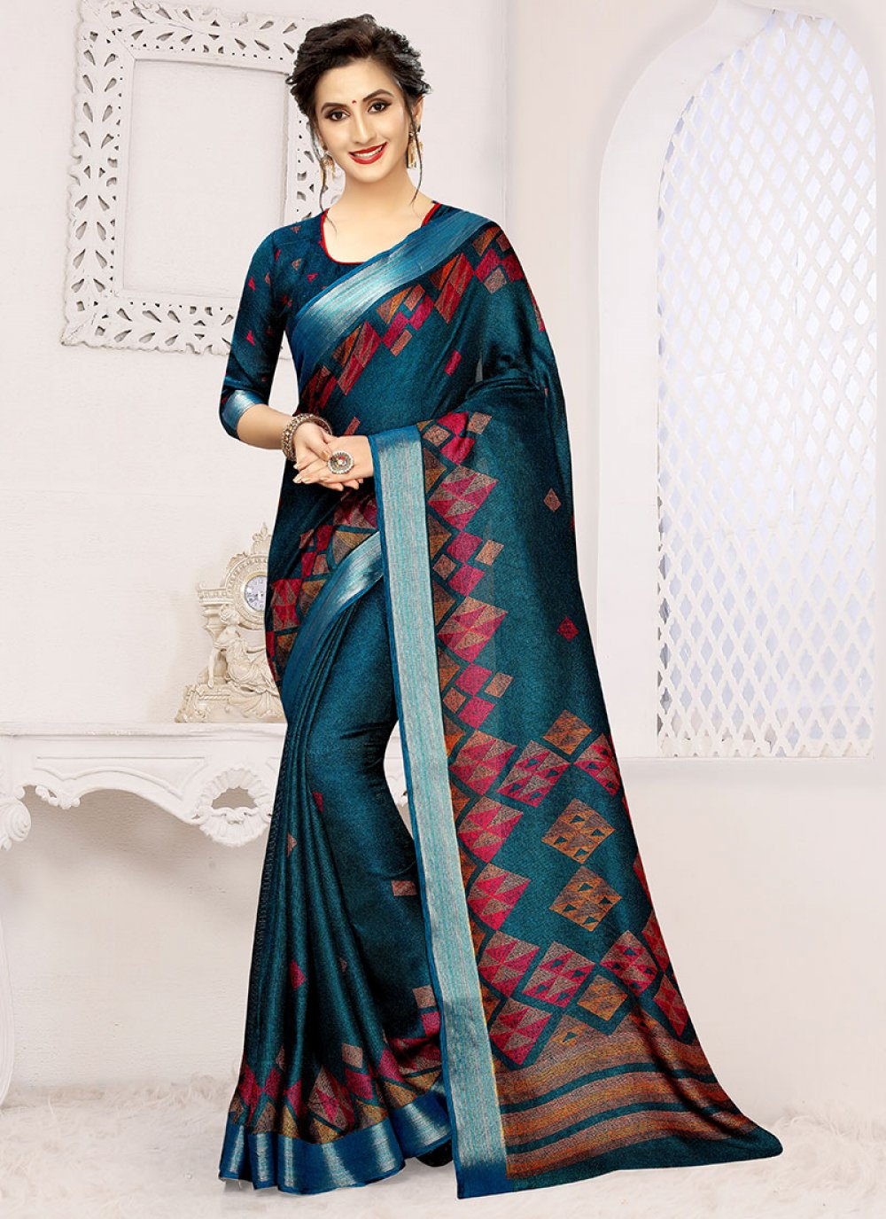 Casual Saree Printed Linen in Blue and Teal