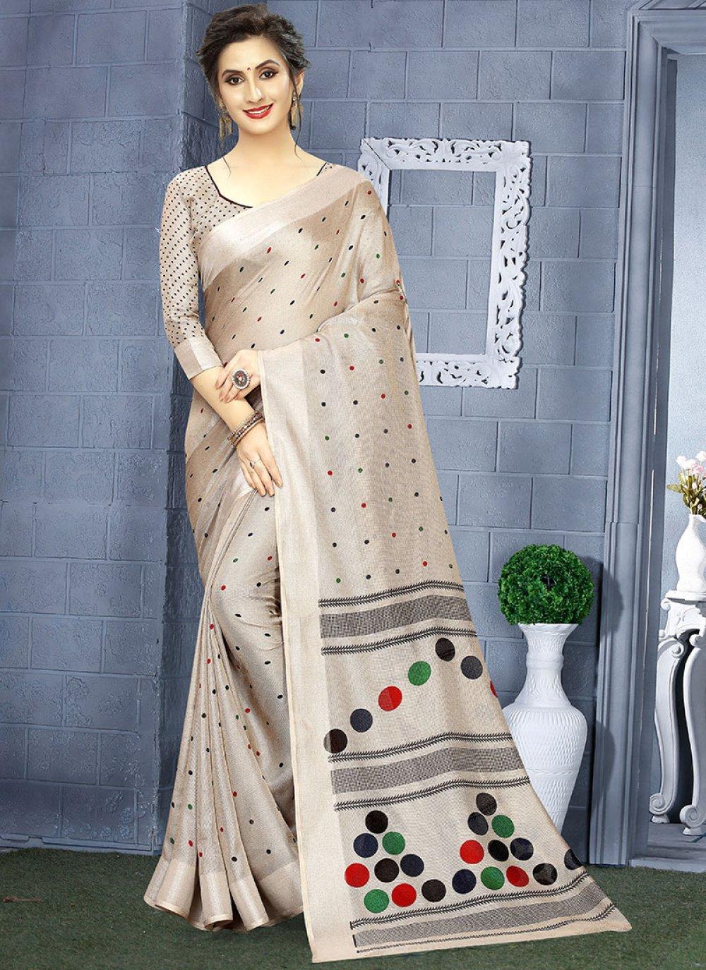 Casual Saree Printed Linen in Grey