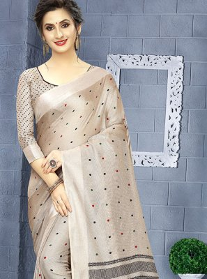 Casual Saree Printed Linen in Grey
